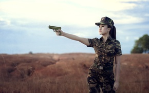 Picture girl, gun, background, form, camouflage, Asian