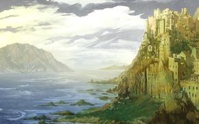 Picture sea, clouds, castle, rocks, painted landscape