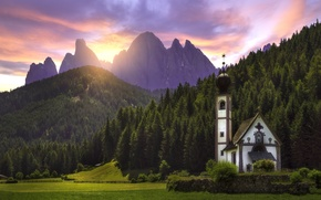 Wallpaper forest, sunset, mountains, meadow, Italy, Church, Italy, The Dolomites, South Tyrol, South Tyrol, Dolomites, Funes, ...