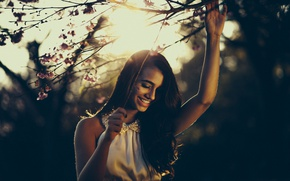 Picture girl, smile, flowers, tree, hair, sunlight, branches, joy