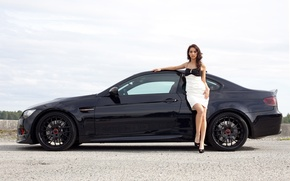 Picture girl, hair, BMW, dress, wheel, black, beautiful, drives