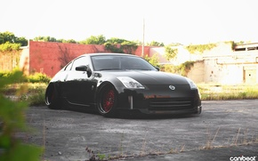 Picture car, black, tuning, stance, nissan 350Z