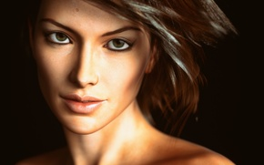 Picture look, girl, face, rendering, beauty
