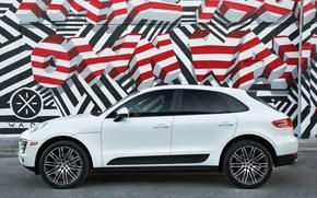 Picture wall, graffiti, Porsche, crossover, Macan