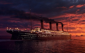 Wallpaper ship, Titanic, sunset