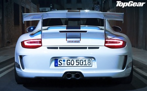 Wallpaper wing, 911, 997, porsche, rear view, the best TV show and magazine, white, top gear, ...