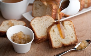 Picture tea, honey, bread, jam