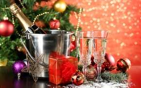 Picture winter, balls, toys, New Year, glasses, Christmas, gifts, tree, champagne, Christmas, holidays, New Year, bucket, …