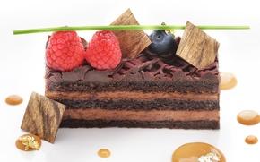 Picture berries, raspberry, cake, cake, caramel, blueberries
