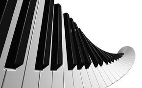 Wallpaper piano music, white, black, keys