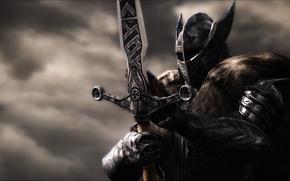 Picture metal, rendering, background, sword, armor, warrior, helmet, knight