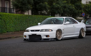 Picture race, nissan, turbo, white, wheels, skyline, Nissan, jdm, tuning, gtr, front, face, r33, skyline, nismo, …