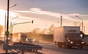 Picture road, the evening, Russia, traffic