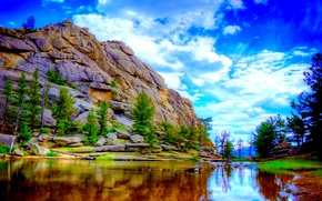 Picture the sky, clouds, trees, rock, lake, mountain