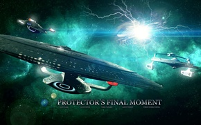 Picture stars, planet, spaceships, protector's final moment