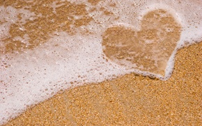 Picture sea, beach, foam, pebbles, heart, love, heart, Sea
