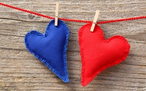 Picture heart, fabric, thread, red, blue, clothespins
