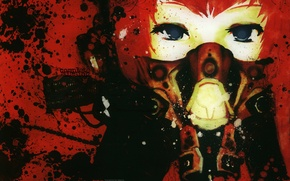 Picture gas mask, vocaloid, Vocaloid, Meiko, art, red hair, Meola