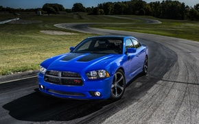 Wallpaper Dodge, R/T, sedan, trek, Charger, Dodge, Sedan, V-8, Muscle Car, Daytona, blue