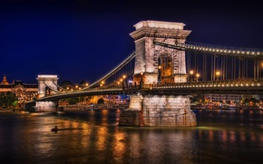 Picture night, bridge, lights, river, lights, Bay, budapest, Budapest, chain bridge