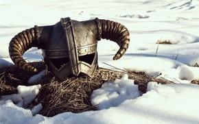 Wallpaper snow, horns, helmet, the elder scrolls, skyrim, fragatsu