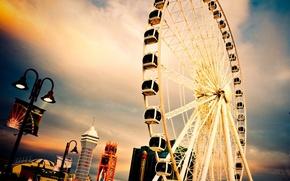 Wallpaper Ferris wheel, beautiful, the city