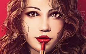 Picture look, girl, face, hair, lipstick, art, painting, red lips