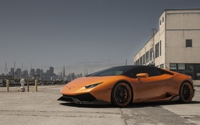 Picture city, lamborghini, orange, huracan
