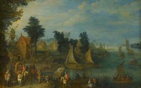 Picture landscape, picture, Village on the Banks of the River, Joseph Van Bredel