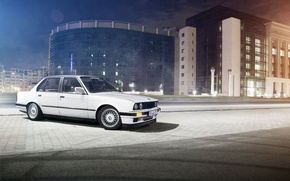 Picture white, night, street, the building, BMW, BMW, white, E30, Sedan, 3 Series