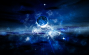 Picture stars, blue, Planet