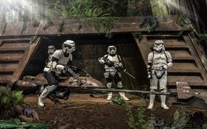 Picture Star Wars, Speeder Bike, Scout Trooper, Forest, Stormtrooper, Andreas Bazylewski, Ewok, Star Wars Episode VI: ...