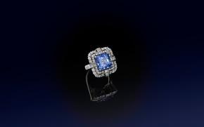 Picture stone, ring, decoration, diamond, sapphire