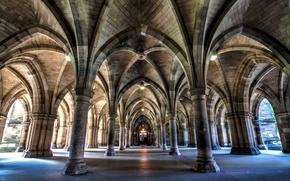 Picture Scotland, arch, column, University, Glasgow, Bute Hall