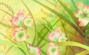 Picture flowers, figure, petals, fabric, canvas