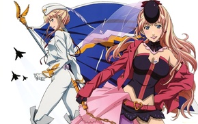 Picture flag, aircraft, white background, corset, emblem, pussy, military uniform, Macross Frontier, Sheryl Nome