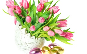 Picture eggs, Easter, tulips, vase, Easter