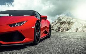 Picture Lamborghini, Red, red, Lamborghini, 2015, Huracan, hurakan, LP 60-4