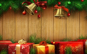 Picture color, gold, sweetheart, beauty, colors, Christmas, gifts, red, golden, gold, beautiful, gold, bells, Happy New …