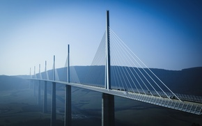 Picture road, forest, bridge, France, height, the Millau viaduct