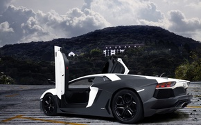 Picture white, trees, mountains, Lamborghini, white, the hotel, matt, mountains, tree, hotel, aventador, lp700-4, Lamborghini, aventador, …