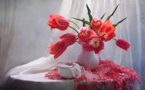 Picture bouquet, tulips, napkin