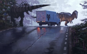 Picture road, forest, trees, danger, predators, art, artist, van, dinosaurs, is, car, Simon Stålenhag, Simon Stelenhag