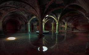 Picture underwater, ancient, crypt, moody