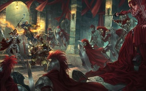 Wallpaper weapons, battle, war, red cloaks, MAG, armor, castle