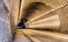 Picture road, car, machine, light, lights, lights, the tunnel, CA, USA, USA, road, California, tunnel