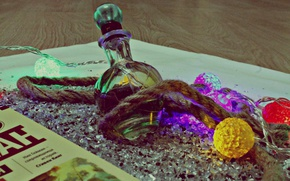 Picture glass, fragments, perfume, rope, book, glass, garland, book, garland, perfume, perfume bottle, Stardust