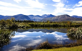 Picture forest, summer, the sky, mountains, lake, dal