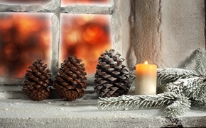 Picture winter, light, snow, candle, window, Christmas, light, holidays, winter, snow, holidays, window, Merry Christmas, candle, …