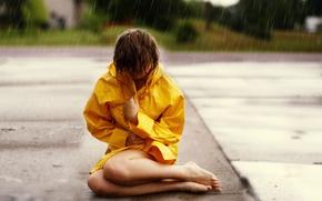 Picture girl, rain, mood, street
